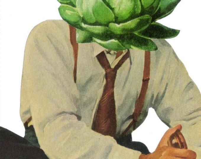 Artichoke Art for Kitchen, Green Vegetable Artwork, VeganCollage