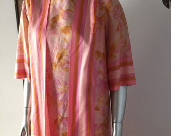 1960s Watercolor Floral Dressing Gown Coat