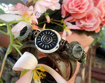 LAMPWORK BRACELET bangle Donna Millard SRA gift her gypsy boho fairy fae bohemian black sun summer spring