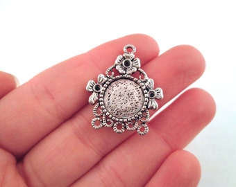 12mm chandelier bezel settings, silver plated, pick your amount, B215