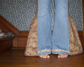 Hippie Bell Bottom Jeans OOAK Side Panel Vintage Trim Upcycled Flare Jeans Fun Unique Bell Bottoms Adult Size 14 16 Plus Size Ready to Ship