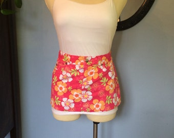 Vendor apron Pink flowered cotton apron, utitilty craft show apron upcycled