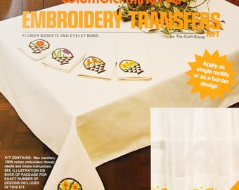 Transfer Embroidery Patterns – vintage flower basket & eyelet bows, hot iron on heat wax transfers, Columbia Minerva, 70s kitchen decor