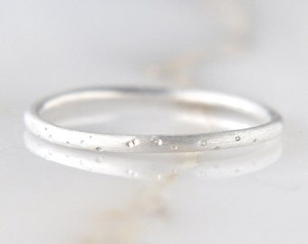 Silver dotted stardust ring - sterling silver dimpled ring - tiny dots brushed textured - delicate stacking ring - round band - 1.3mm thick