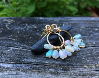 Genuine Opal Gemstone 14k Goldfill Earrings, Cluster Dangle, Fiery Welo Opal Nuggets, October Birthstone, 14k Gold Fill, Handmade Jewelry