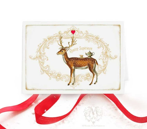 Deer, Christmas card, tea card, tea, teapot, teacup, reindeer, red heart, vintage style, holiday card, Christmas party, card for her