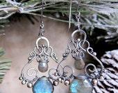 She Walks In Beauty - Magical Aqua Blue Labradorite Earrings