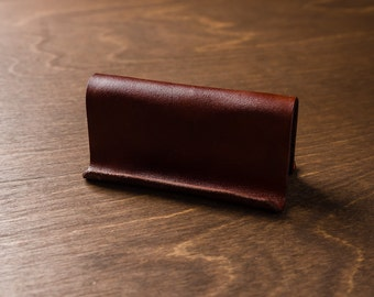 Leather Business Card Holder / Display - Medium Brown