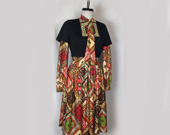 Vintage Dress, Shannon Rodgers for Jerry Silverman, 1960's, Attached Black Top, Red Print Skirt and Sleeves, Long Sleeves, Folk Style, Small
