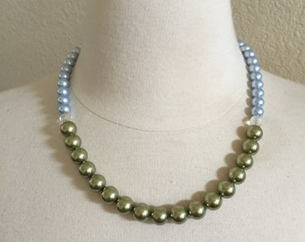 Pearl Necklace, Light Green, Light Blue, Crystal Necklace, Bridesmaids Jewelry, Spring Wedding, Garden Party Jewelry, Special Occasion