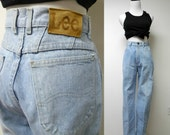 LEE . 80s 90s high waist denim jeans . size 7 . medium . made in USA
