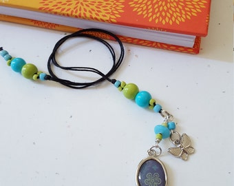 Beaded Butterfly Bookmark /Lime Green And Blue Glass Beaded With Metal Charms/ Handmade Gift Idea For Readers/Book Lovers/Journal Writers