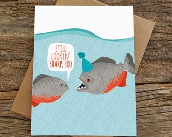 funny birthday card / piranhas
