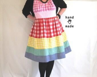 Pretty Rainbow Gingham Dress -- plus size, size 26, 3X, xxxl -- retro, fit & flare, high waist, cotton fabric -- 55B-48W-90H