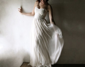 Wedding dress, Beach wedding dress, Boho wedding dress, Simple wedding dress, Alternative wedding dress, Chiffon wedding dress, Boho - TILIA