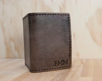 Mens Wallet - Trifold - Custom Monogram Wallet -  Handmade Leather in Antique Black - Personalized