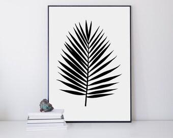 Palm Leaf Print - Tropical Leaf Print - Palm Art Print - Minimalist Art - Black and White - Modern Wall Print - Palm Leaf Fan - Gallery Wall