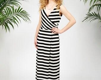 Catalina maxi dress in black stripes