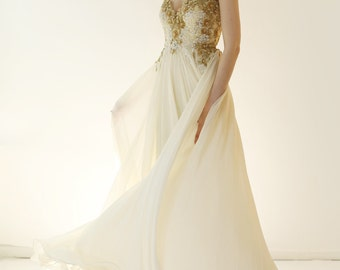 Sample Sale -  gold beaded Lace and ivory silk Wedding Dress