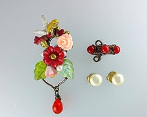 Red Love Fairy Ear Cuffs With Vintage Pearl Studs, Woodland Ear Cuff, Fantasy Ear Cuff, Fairy Earrings, Fairy Jewelry, Unique Ear Cuff