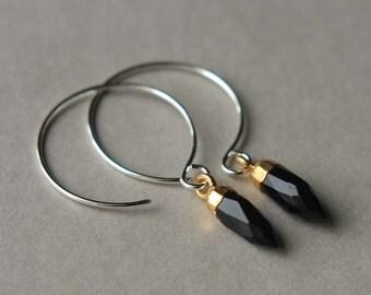 Black Onyx Hoop Earrings, Sterling Silver Hoops, Onyx Spike Earrings, Gemstone Hoop Earrings, Round Silver Earrings, Mixed Metal Jewelry