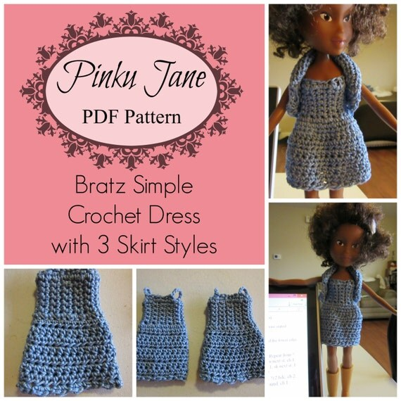 Easy Crochet Doll Skirt Pattern : Bratz Simple Crochet Dress with 3 Skirt Styles PDF Pattern