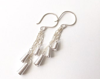 Silver Coiled Wire Bell Dangle Earrings, Modern Nordic Jewelry