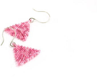 Triangle Earrings, Beaded, Pink, Seed Beads, Beadwork, Pierced, Valentine's Day Gift