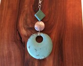 Long Turquoise Round  Drop Necklace- Asymmetrical, Funky, Artsy, Natural, Unique, Sterling Silver, Gold, Wedding, Free Gift w/ Purchase