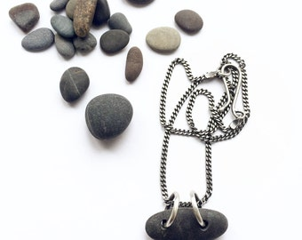 Natural Dark Grey Lake Erie Beach Stone Necklace Oxidized Sterling Curb Chain Handmade Clasp
