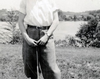 vintage photo 1932 Turkey Lake Portsmouth Ohio Handsome Young Man Golfer Golf Pants
