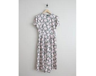 90s floral dress / pink floral dress / long floral dress