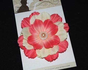 Coral Ivory Flower Hair Clip Retro Glam Wedding Prom Rockabilly - Buy 3 Items, Get 1 Free
