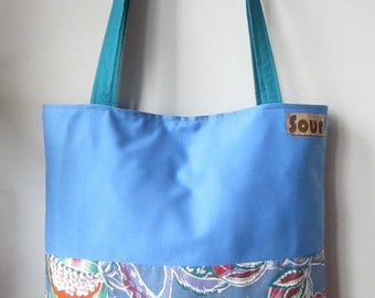 Chasing Light // Sky Blue, Teal, Blue and Floral Print Tote Bag