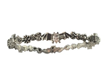 Bat & Flowers Bracelet   daisy silver gold bangle jewelry