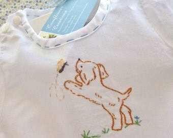 Little Puppy & Butterfly - Hand Embroidered Vintage Style Cotton Romper
