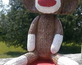 Sock Monkey Bobble Head Collectible Figurine