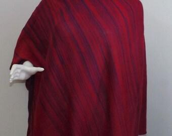 Handmade Knit Poncho - Red and Purple Random Stripes
