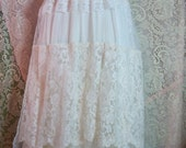 Ivory lace dress wedding tiered  tulle off shoulder vintage  bride outdoor  romantic small by vintage opulence on Etsy