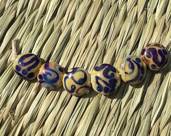 Handmade Lampwork Glass Bead Set Reactive glass Organic Earthy Boho Pressed lentil Artisan bead Handmade Bead  SRA Generationslampwork