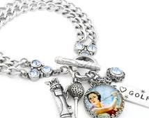 Golf Bracelet, Golfing Jewelry, Women's Golf Gifts, Golf Charm Bracelet, Gifts for Golfers, Golfing Bracelet