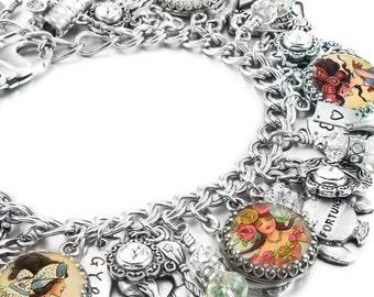 Gypsy Charm Bracelet, Silver Charm Bracelet, Gypsy Charm Jewelry, Magical Celtic Jewelry, Stainless Steel Bracelet