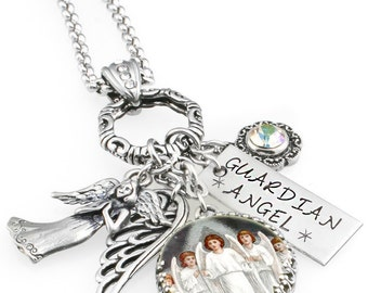 Guardian Angel Necklace - Angel Jewelry - Guardian Angel - Spiritual Necklace - Personalized Birthstone - Angel Charms - Praying Angel