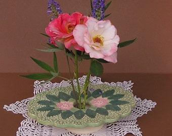 Antique Lace Vase . Handmade Pottery . Ceramic Ikebana Flower Vessel .