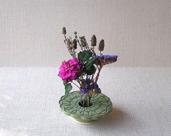 Petite Ikebana Flower Vase . Handmade Ceramic Pottery Vase . Circles Vase