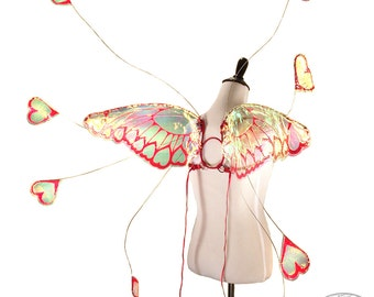 Aphrodite No. 1 - Medium Cellophane Fairy Wings in Red Glitter