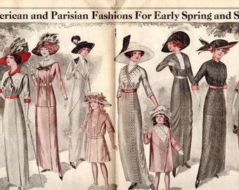 Woman's World Mgazine April 1913 No Cover but Color Fashion Illustrations  Parisian Fashions for Spring and Summer Advertisements