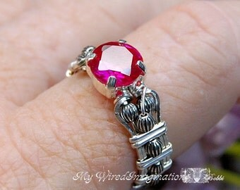Solid Sterling Silver Ruby Fuchsia Red Lab Created Stone Hand Crafted Wire Wrap Ring Orignal Signature Design Fine Jewelry July Birthstone