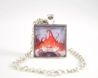 Steampunk Art Design Necklace, Industrial Art Necklace, Flames Necklace, Modern Art Necklace, Gift for Firefighter, Firefighter Art, Gears