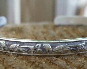 Honeysuckle, vine and flowers, floral, movement, energy, go as a river, engraved, mother nature, sterling silver cuff bracelet, adjustable